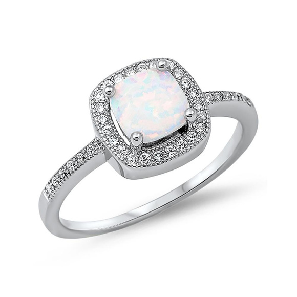 Halo Engagement Ring Cushion Cut Lab White Opal Cz
